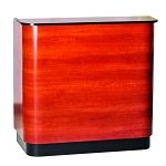 Reception Desk with Curved Sides - Wild Cherry with Black Accent