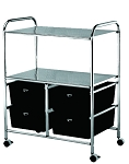 Work Cart with 4 Black Storage Drawers